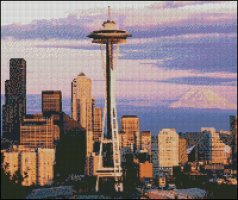 Space Needle and Mount Rainier - Seattle USA